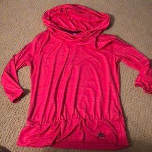 Adidas hot pink cowl neck hoodie sz L